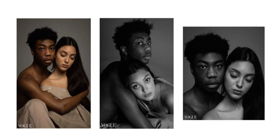 Three photographs of a man and a woman posing in gentle colours, reminiscent of Daphne and Apollo.