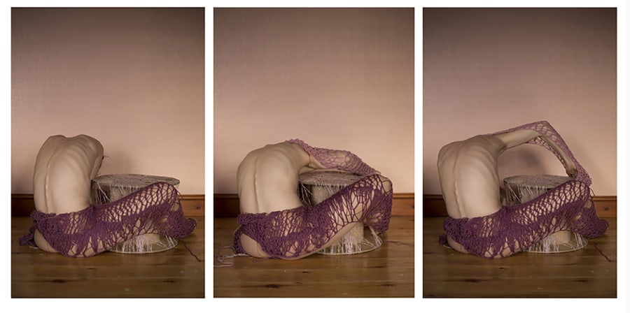 Photographs of a crouching body draped in material.