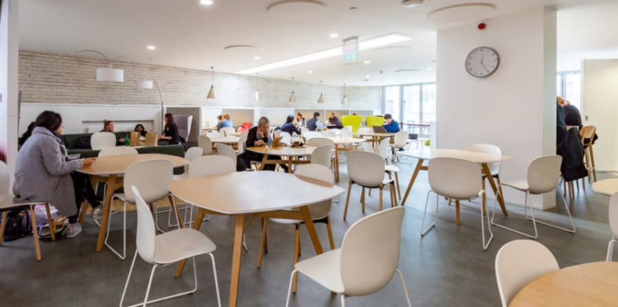 Interior of canteen at London College of Fashion, John Prince's Street.