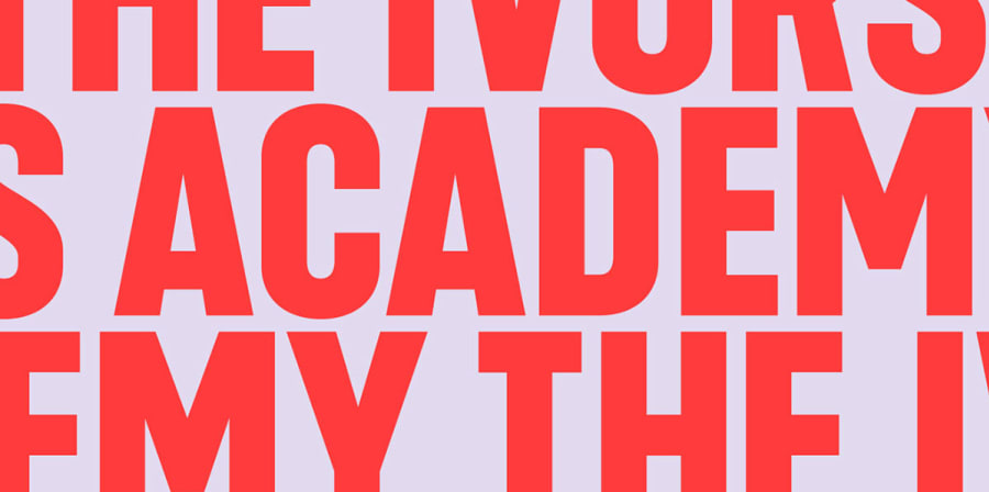 Red graphic type reads 'The Ivors Academy' on a grey background.