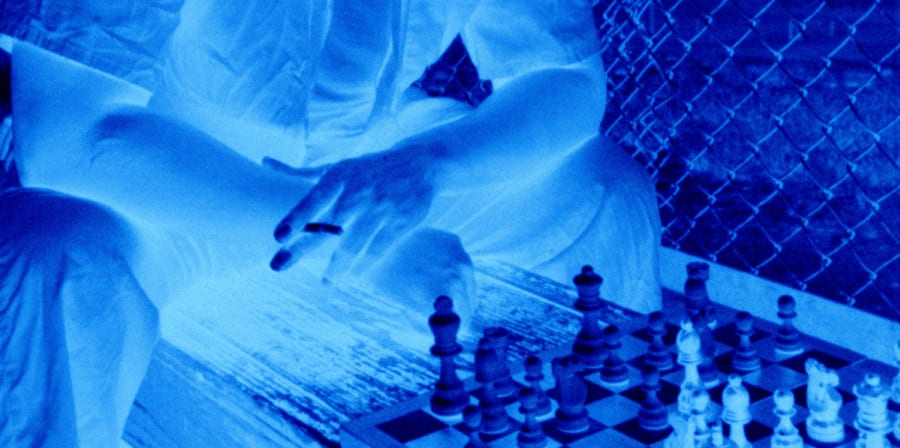 Blue negative of a chess game