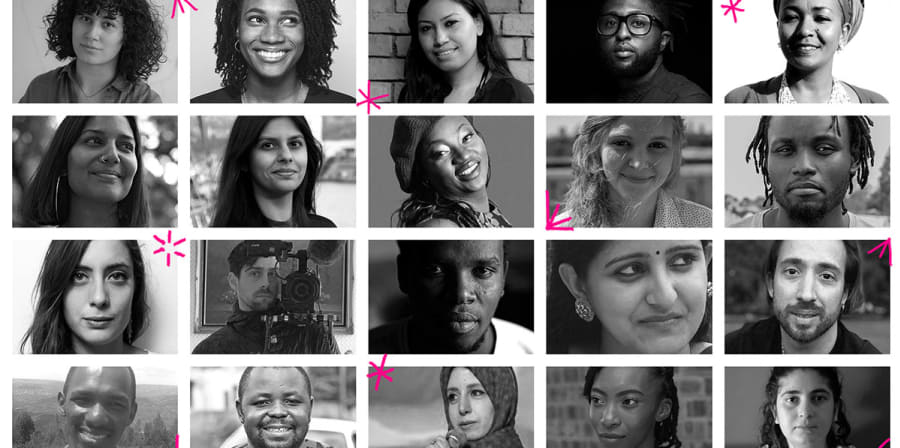 A collage of the 2020 One World Media Fellows