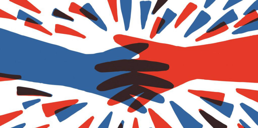 A red and blue graphic which illustrates connected hands, representing the theme of consent.