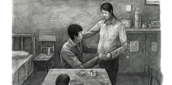 A detailed black and white drawing which shows a family sat around a table eating, a pregnant woman is standing by the table.