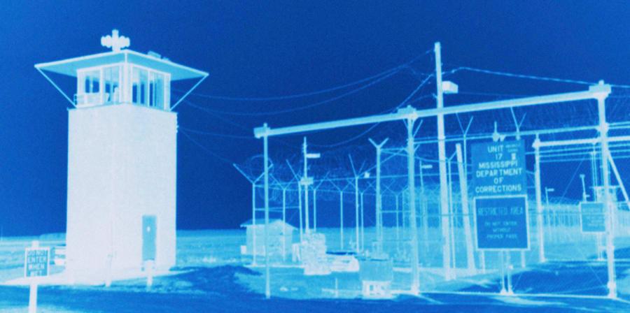 Blue negative of a prison