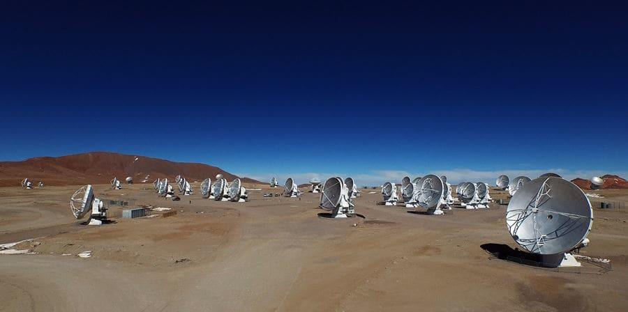 A row of satellites