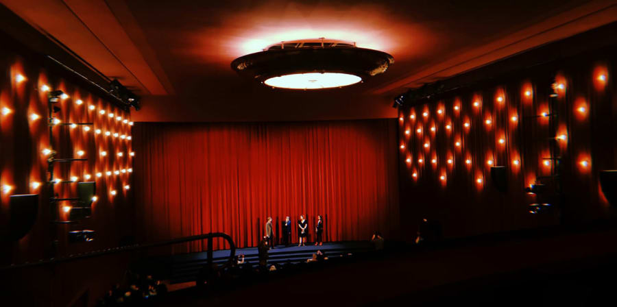 An interior shot of a cinema screening.
