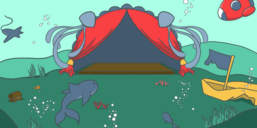 Image of underwater stage with sharks and a submarine.