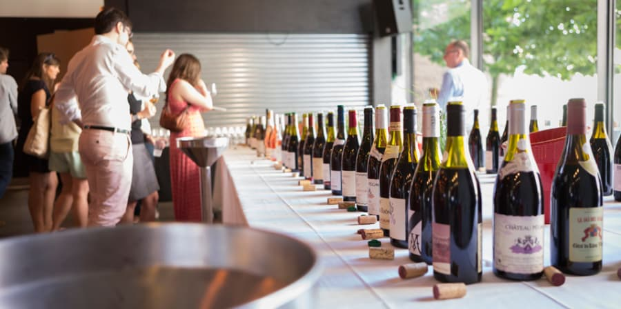 A long line of different wines lined up on a long table