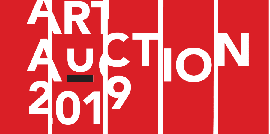 red blocks with white text overlaid art auction 2019