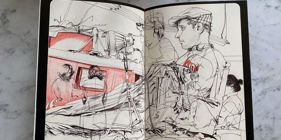 Sketches of a man in a flatcap.