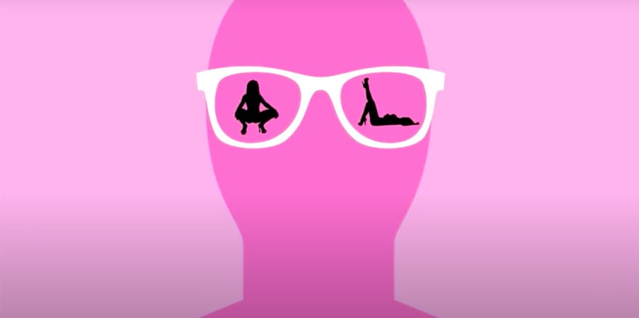 A pink graphic of provocative female shadows reflected in a male's glasses.