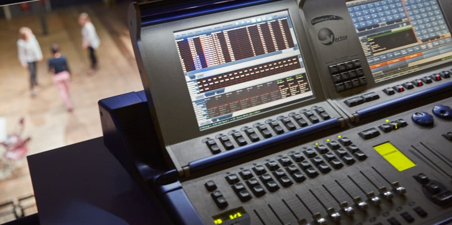Theatre lighting desk at Wimbledon College of Arts.