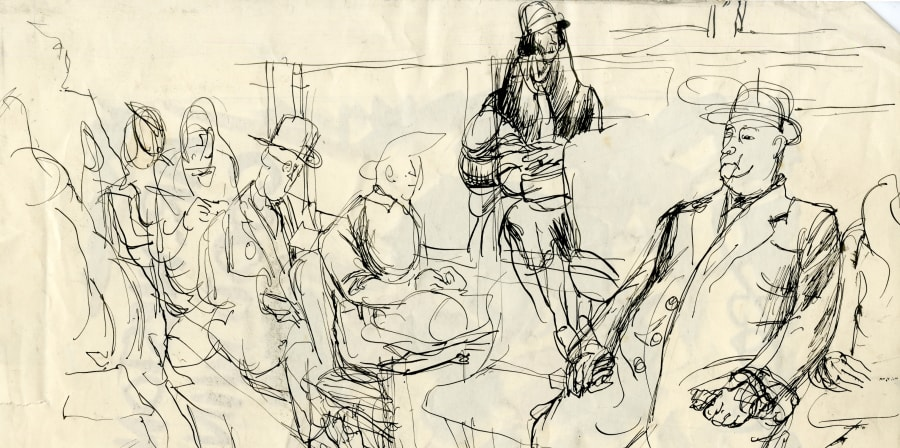 A sketch of people on a bus