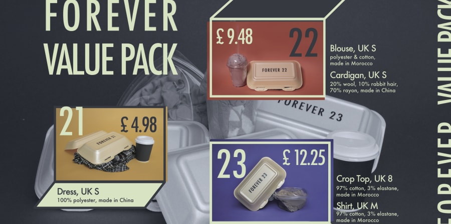 An image with text and colour blocks with prices