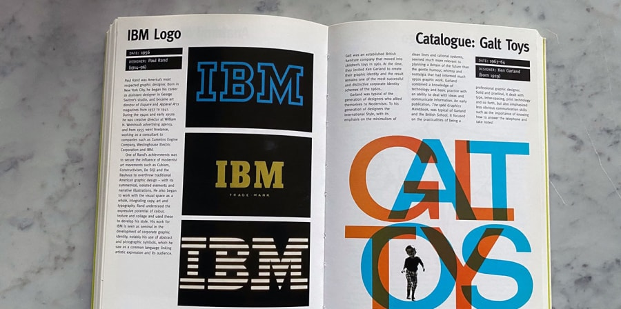 An open book detailing pages which explore the history of the IBM logo.