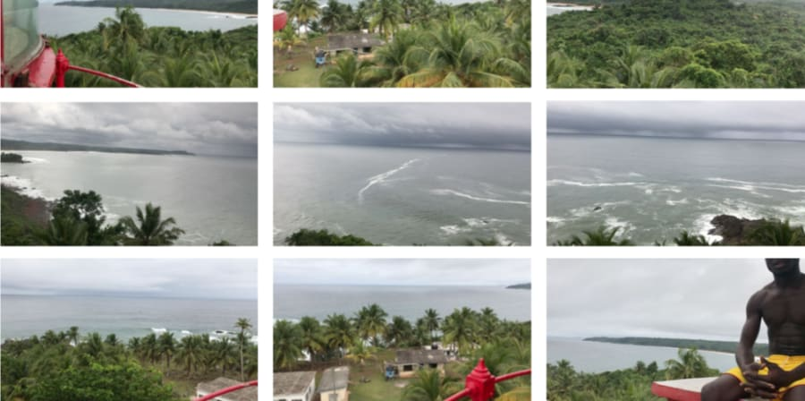 A grid of nine photos showing a forest of palm trees on a coast, in some houses are visible and in one a seated man in yellow shorts