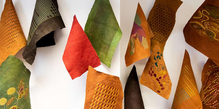 Textile pieces against a white background