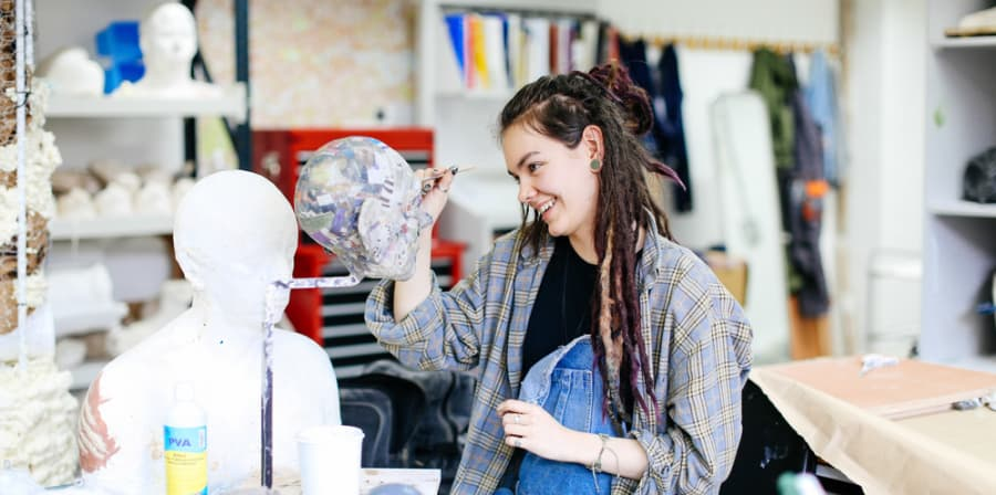 Student sculpting in LCF studio