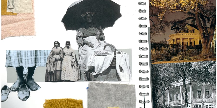 Sketchbook page with a collage of Victorian Houses
