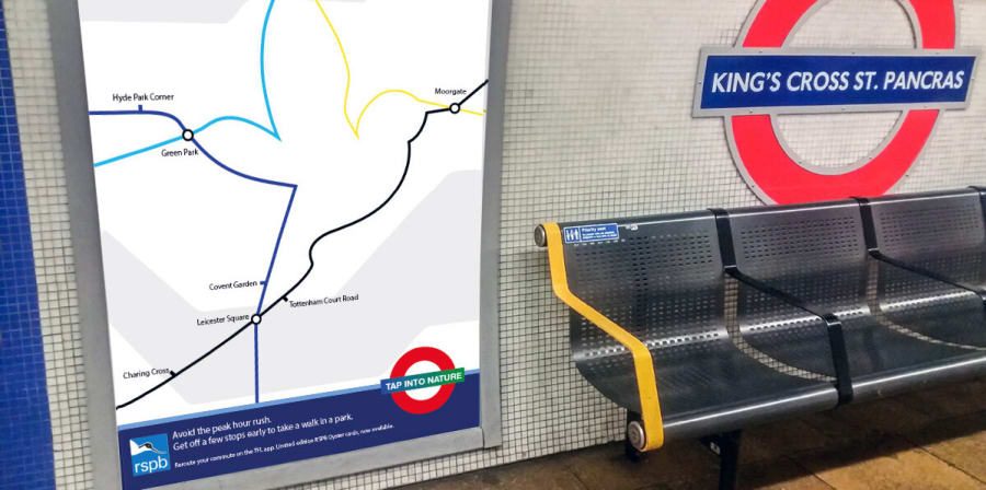 A Tube map concept shaped like a bird is mocked up at King's Cross Underground.