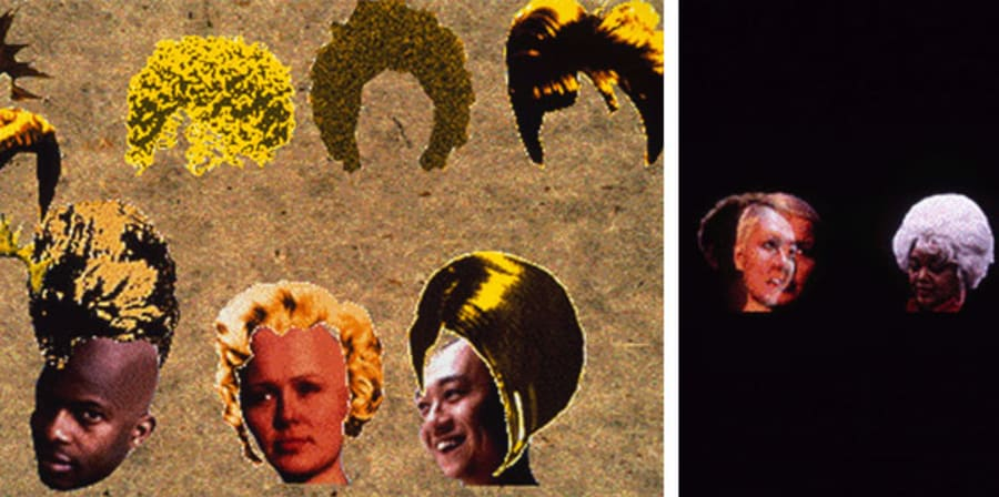 multimedia artwork showing disjointed/edited heads & faces with blonde wigs overlaid