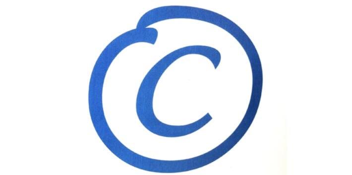 A blue copyright symbol