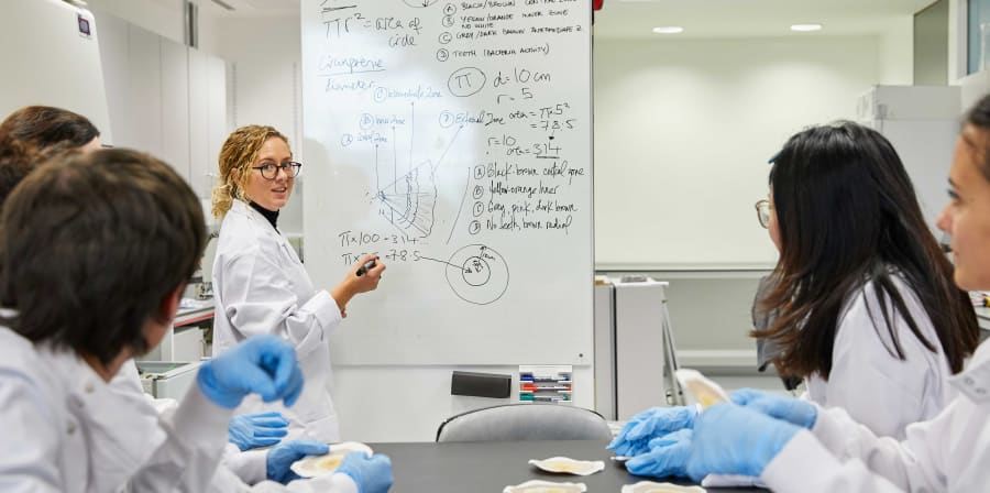 People in white coats sitting watching woman in white coat write on whiteboard
