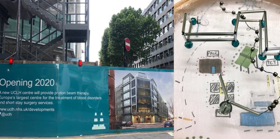 Image of the Proton Beam Therapy Centre construction site for UCLH alongside Kieu's work inspired by the site