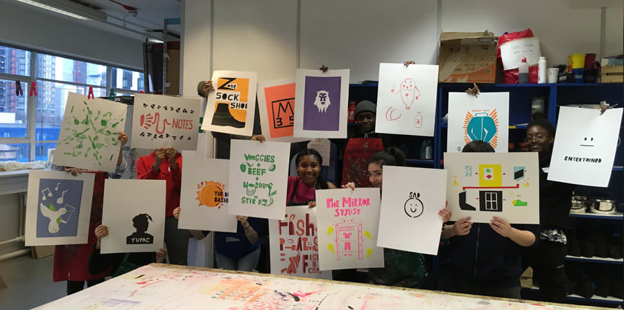 Students present their finished posters