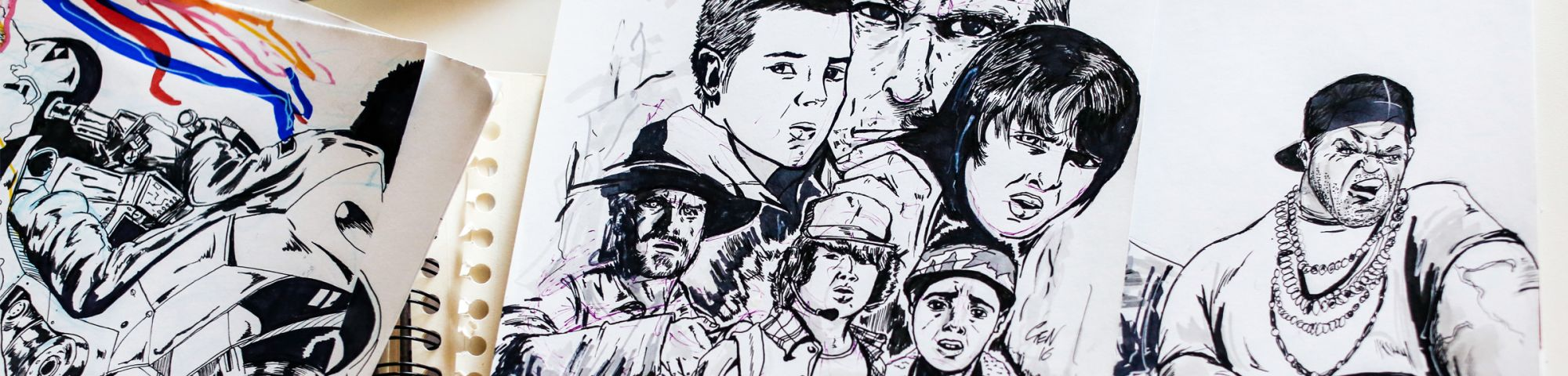 Close up shot of pen and ink images from a graphic novel