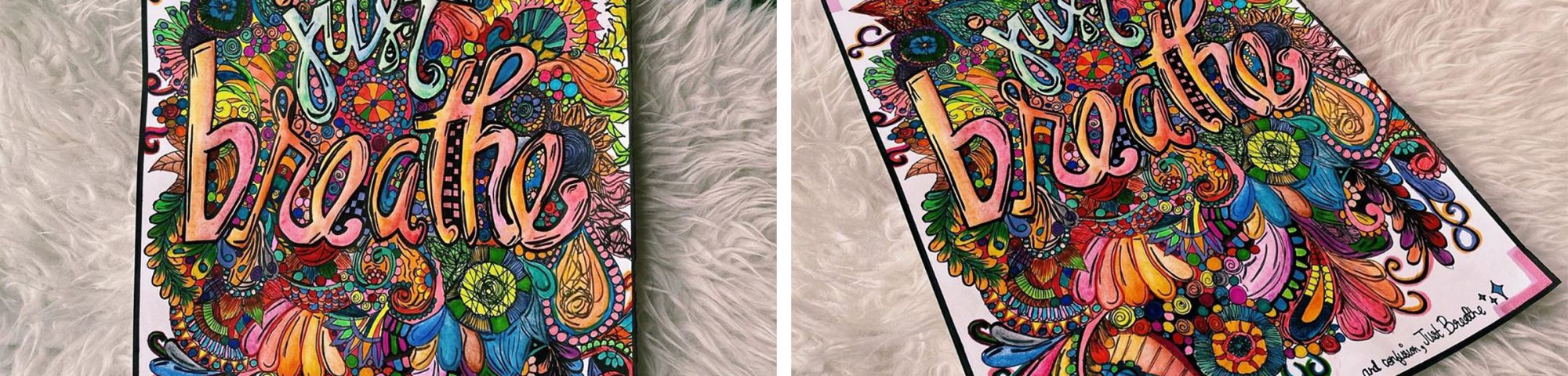 colourful illustrations of the words 'just breathe' on a furry carpet