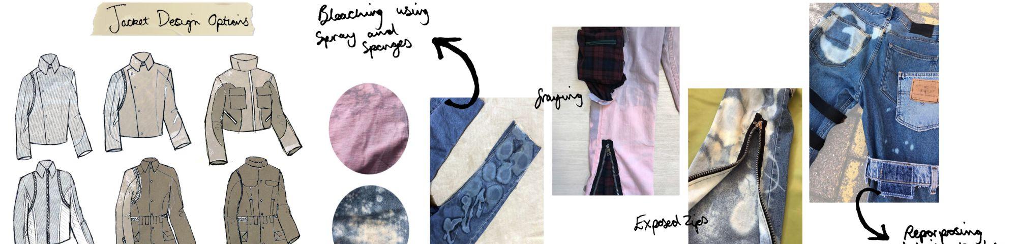 Fashion illustration with fabrics