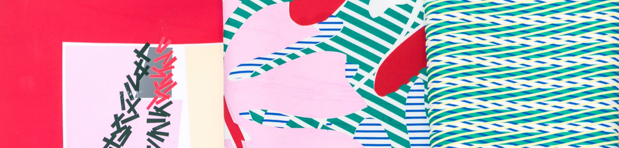 Brightly coloured pink and blue patterned material