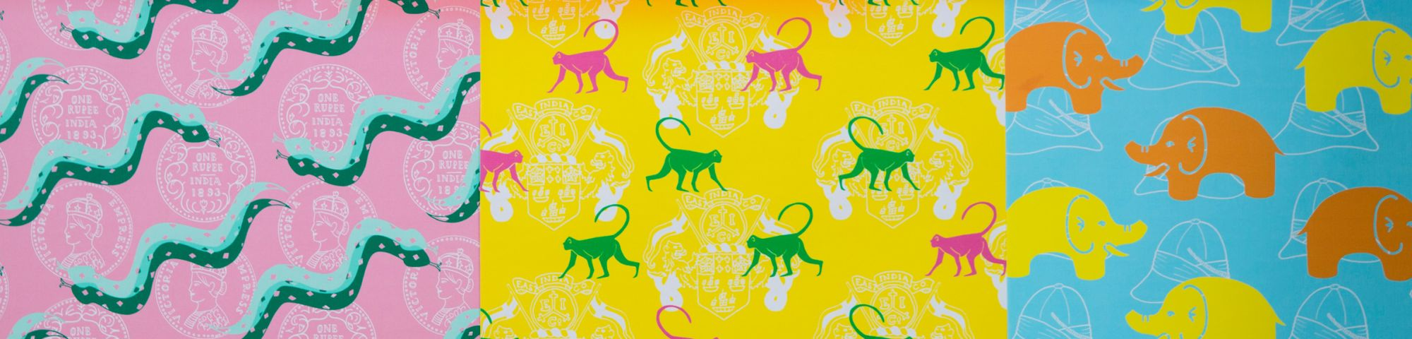 Colourful graphic print of snakes, monkeys and  elephants
