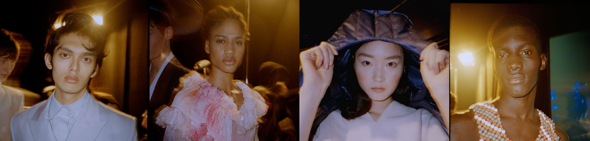 Images of male and female models getting ready on backstage