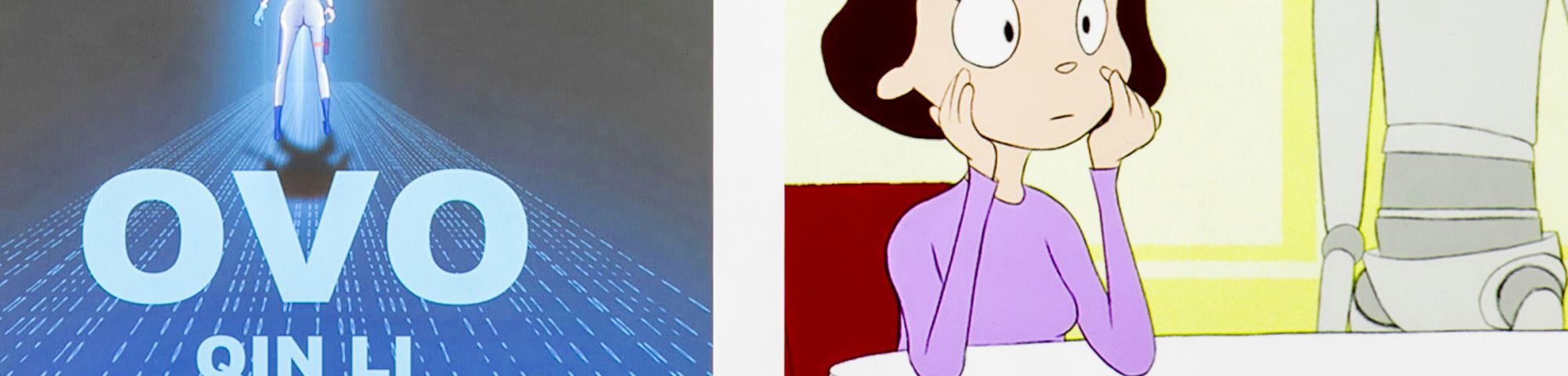 A cartoon woman sits at a kitchen table  with a robot next to her