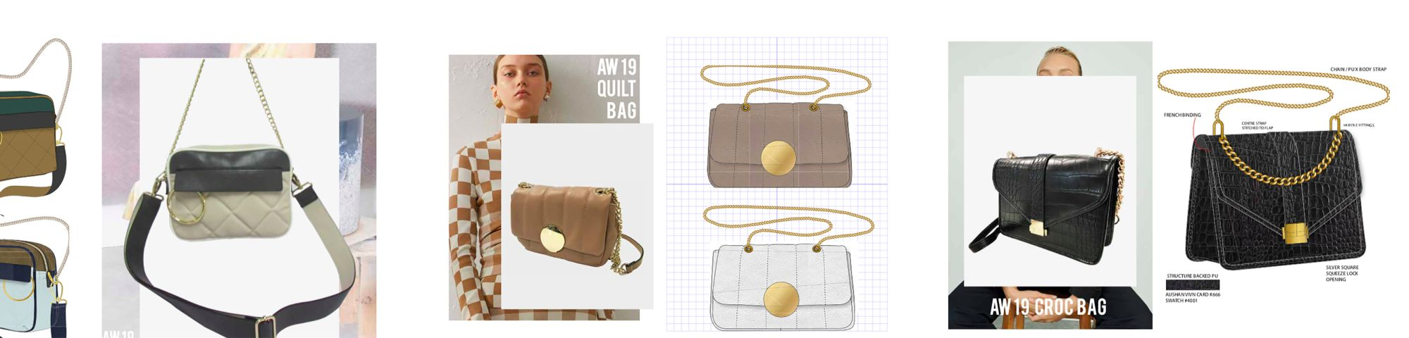 Collage of handbag design prototypes