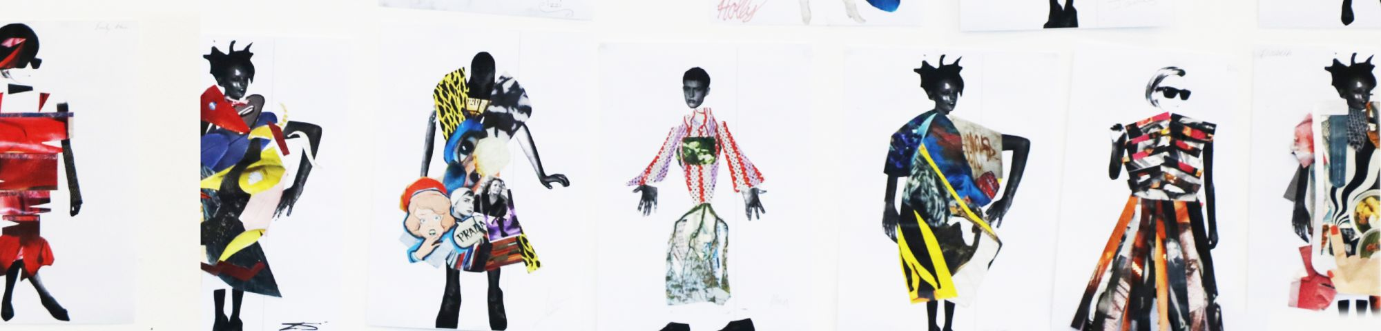 Fashion collage work made by teenage students.