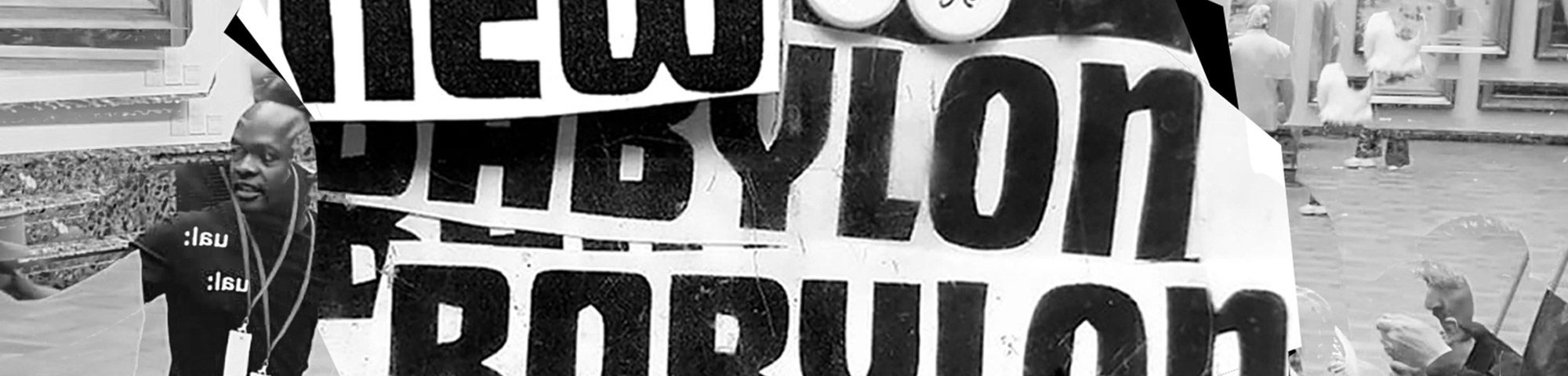 Black and white collage with the words New Babylon repeated in capital letters