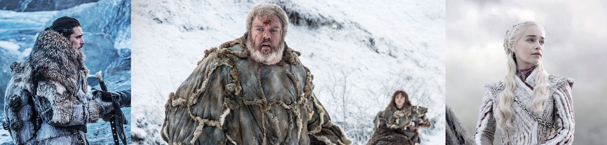 Three different characters from tv series game of thrones wearing different costumes in the snow