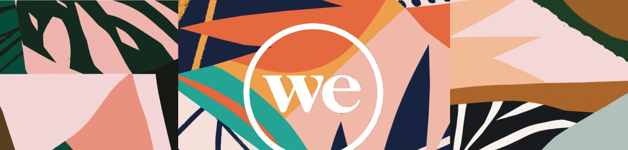 We Work Logo with colourful background