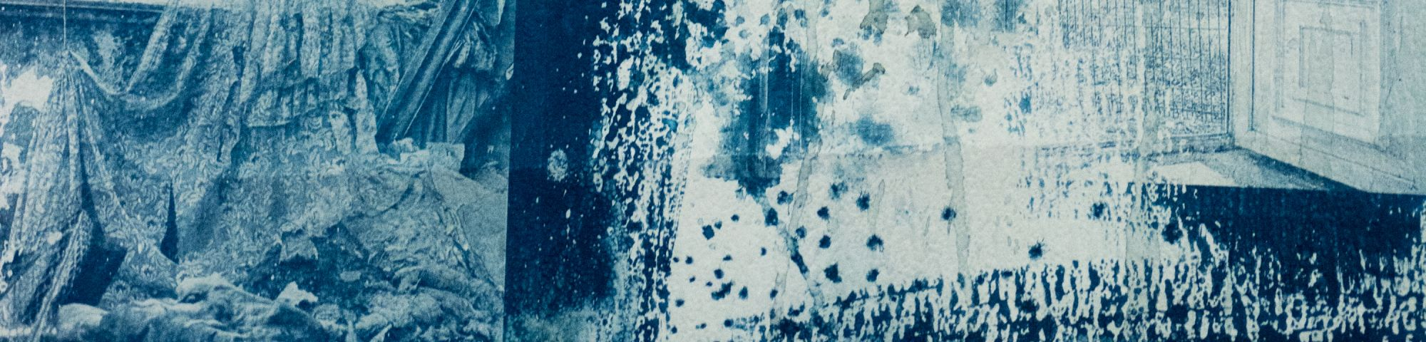 Blue and white ink and print on paper