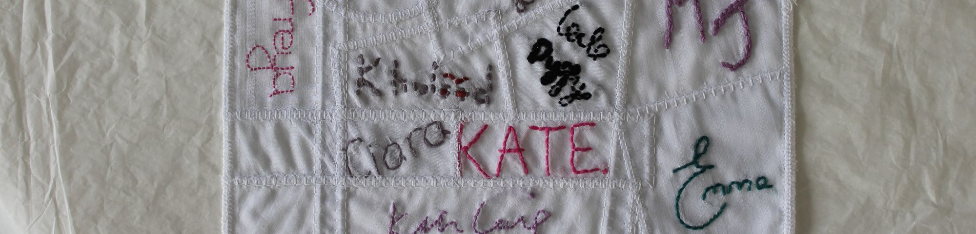 Handkerchief with names embroidered