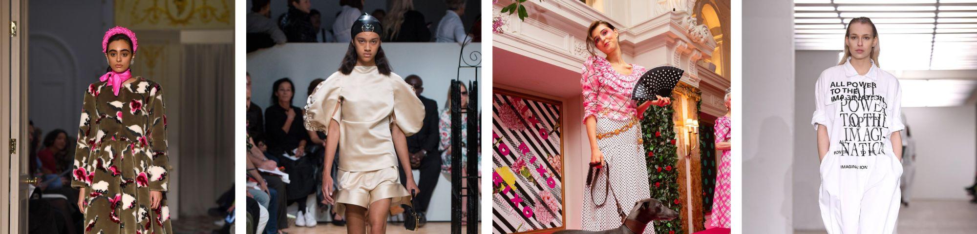 Multiple models on catwalks from London fashion week 2020