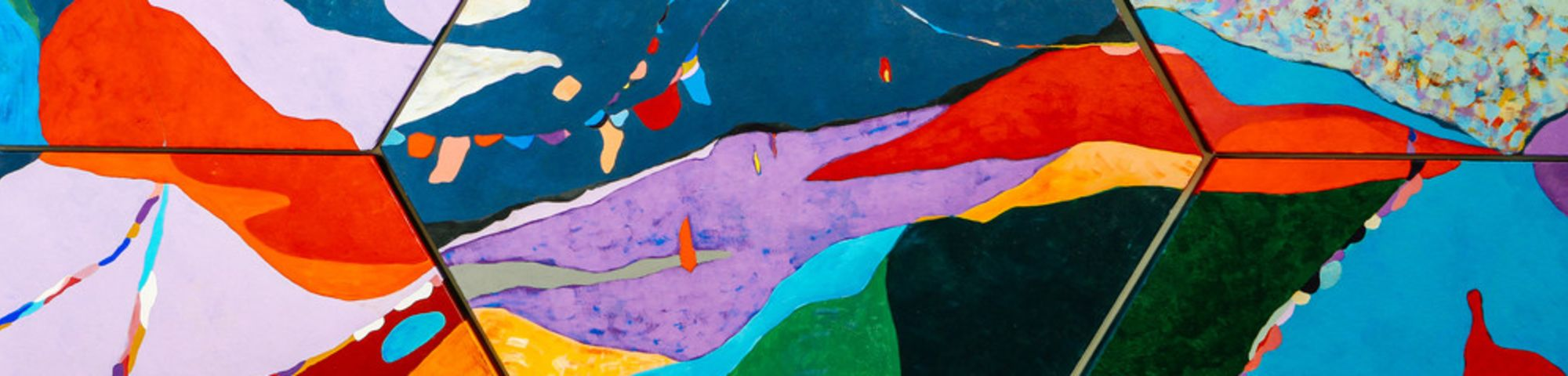 Colourful painting with sections in blue, purple, red and orange