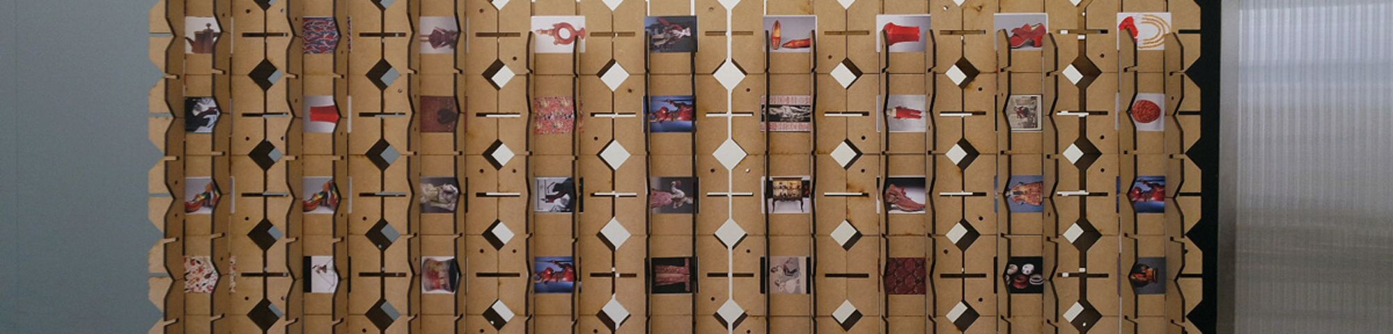 Photograph of Leanne's work using book covers to create a 3D structure.