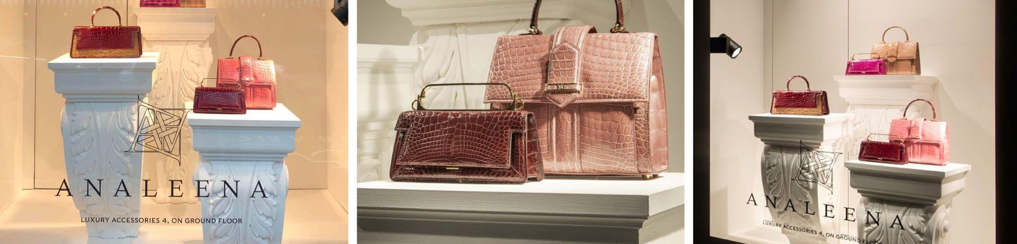 Harrods Shop Window with Analeena handbags on display