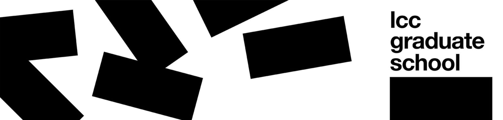 Graphic with a white background and black rectangles arranged randomly across. The text reads 'LCC Graduate School'