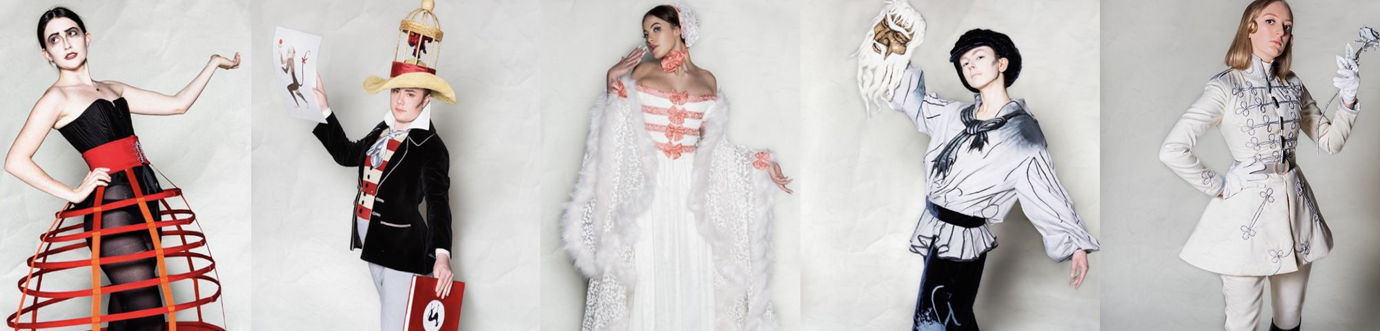 Designs by final year BA Costume Opera magazine banner